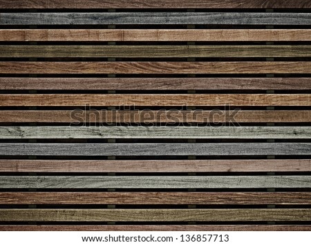 wall of wooden slats color - stock photo