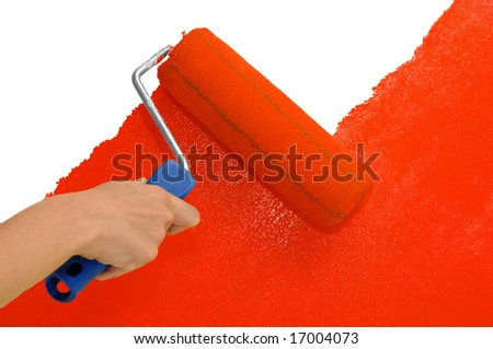 Wall painting - Red - stock photo