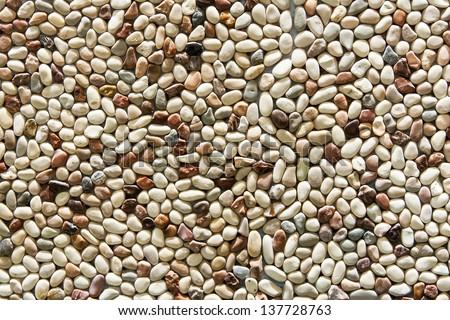 wall pattern of gravel stone - stock photo