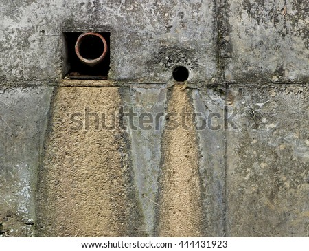 Wall river - of sewage outlet - oxidation - stock photo