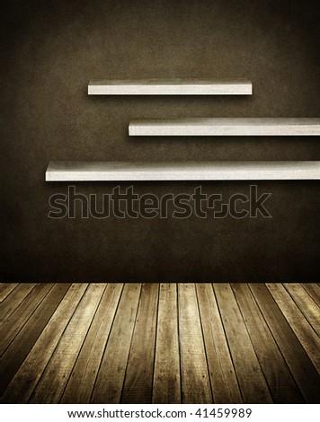 wall shelves on grunge interior - stock photo