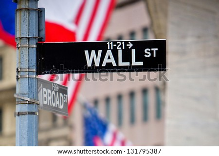 Wall St and Broad St street sign in NYC - stock photo