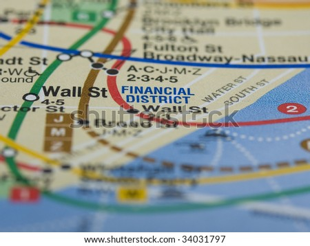 Wall Street and the Financial District in New York city. - stock photo