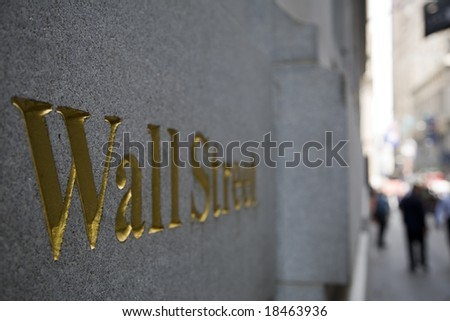 Wall Street plaque, Manhattan, New York City-03 june 2008 - stock photo