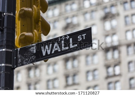 Wall street sign in New York - stock photo