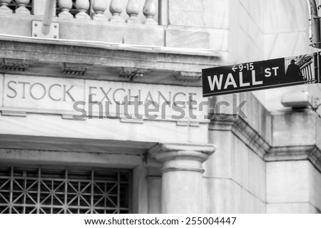 Wall street sign in New York City in black and white - stock photo