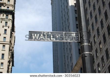wall street sign; manhattan, new york city (near stock exchange) - stock photo