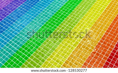wall texture made of glossy colored plates - stock photo