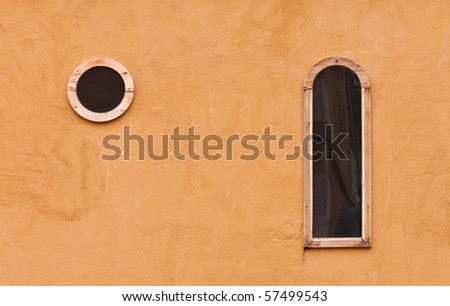 wall texture with windows - stock photo