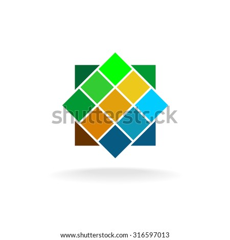 Wall tiles colorful logo - stock photo