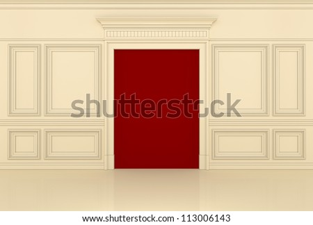 wall with a portal and moldings in the classical style - stock photo
