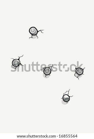 wall with bullet holes - stock photo