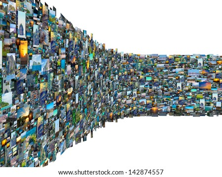 Wall with lot of photography pictures scattered white background - stock photo