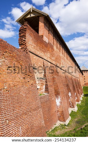 wall with the ancient town of Kolomna, Russia - stock photo