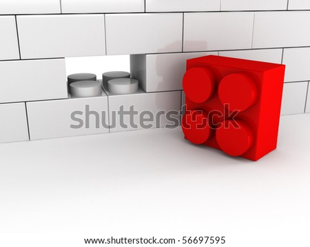 Wall without block isolated on white background. High quality 3d render. - stock photo