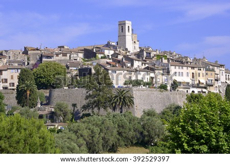 Walled village of Saint Paul de Vence, commune in the Alpes-Maritimes department on the French Riviera - stock photo