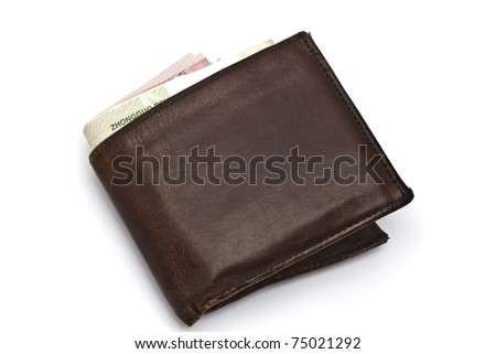 Wallet and currency closeup on white background - stock photo