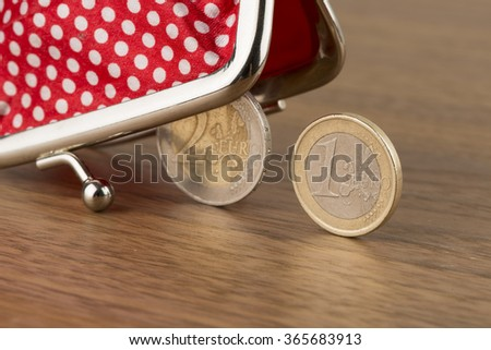 Wallet and euro coins - stock photo
