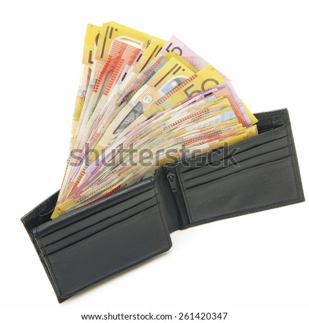 Wallet full of Australian Money - Aussie currency - stock photo
