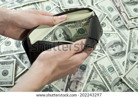 Wallet full of money - stock photo