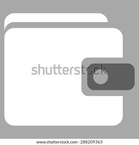 Wallet icon from Business Bicolor Set. This flat raster symbol uses dark gray and white colors, rounded angles, and isolated on a silver background. - stock photo