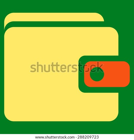Wallet icon from Business Bicolor Set. This flat raster symbol uses orange and yellow colors, rounded angles, and isolated on a green background. - stock photo