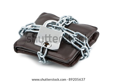 Wallet in chains closed padlock on white background. - stock photo