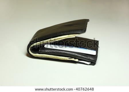 wallet on grey/white background - stock photo