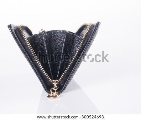 wallet. open purse on background - stock photo