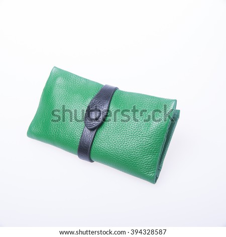 wallet or purse with dollars and credit cards on background - stock photo
