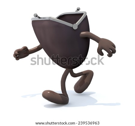 wallet with arms and legs go away, 3d illustration - stock photo