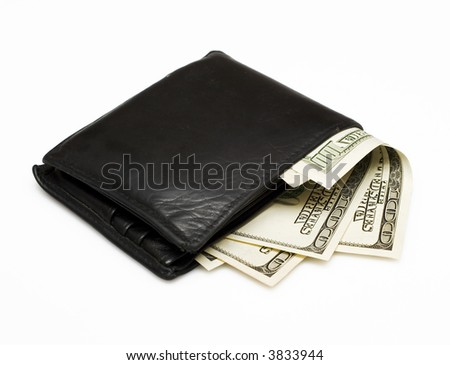 wallet with dollars isolated on white - stock photo