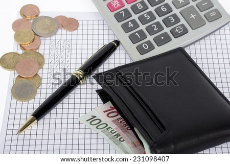 Wallet with euro banknotes and coins, calculator and pen on paper with financial calculations - stock photo