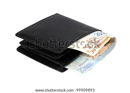 Wallet with euro banknotes isolated over white with clipping path. - stock photo