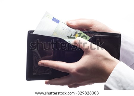 Wallet with euro isolated on white background - stock photo