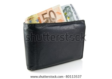 Wallet with euro, path added - stock photo