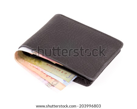 wallet with money isolated on white background - stock photo