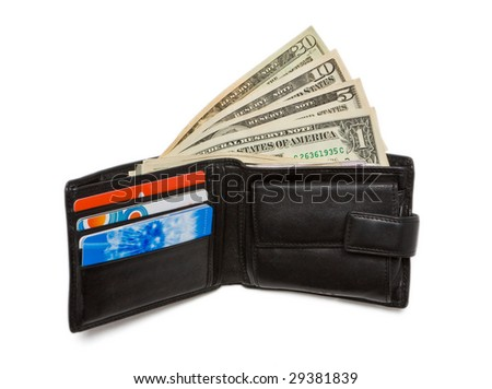 Wallet with one, five, ten and twenty dollar bank notes - stock photo