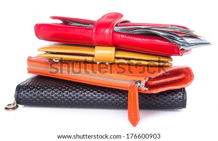 wallet. woman wallet with money on background - stock photo