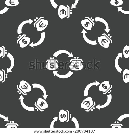 Wallets with dollar and euro symbols on it, repeated on grey background - stock photo