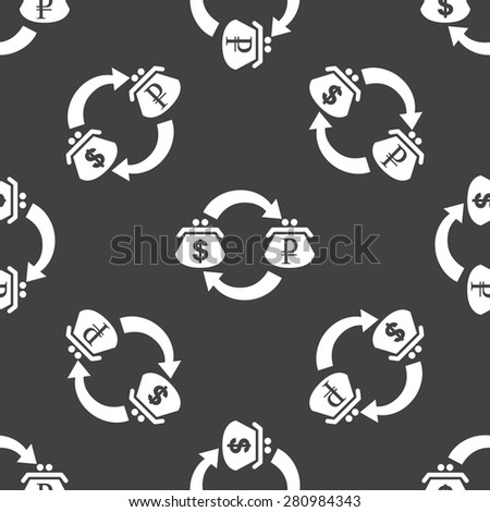 Wallets with dollar and ruble symbols on it, repeated on grey background - stock photo
