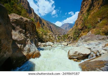 Walley of the mountain river. Himalaya, Nepal. Trek around Annapurna mount.  - stock photo