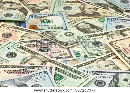 wallpaper created from dollar banknotes - stock photo