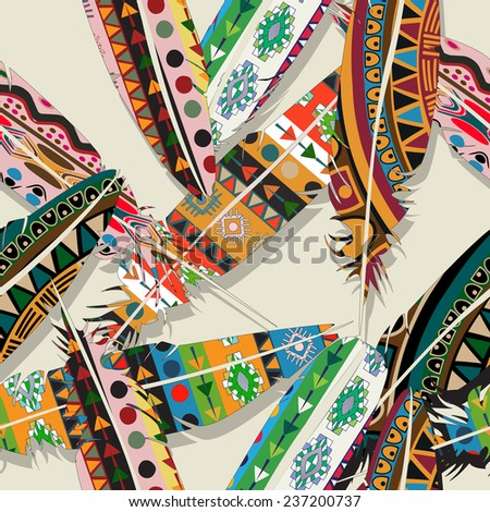 Wallpaper ikat feather pattern - stock photo