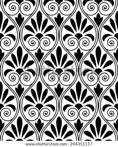 Wallpaper in the style of Baroque. A seamless background. Black texture. Floral ornament. - stock photo