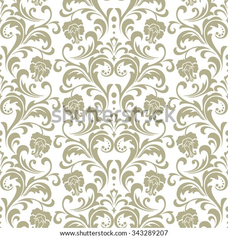 Wallpaper in the style of Baroque. A seamless background. Floral ornament with roses . - stock photo