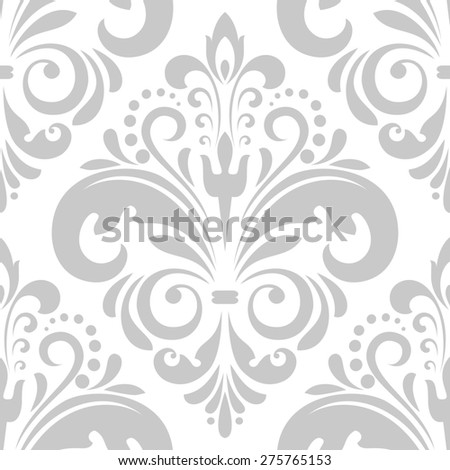 Wallpaper in the style of Baroque. A seamless  background. Gray and white floral ornament - stock photo