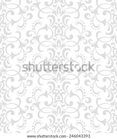 Wallpaper in the style of Baroque. A seamless  background. Gray and white floral ornament. Damask pattern. - stock photo