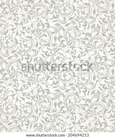 Wallpaper in the style of Baroque. A seamless background. Grey and white texture. - stock photo