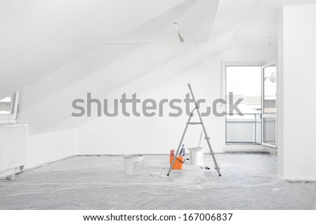 Wallpaper painting - stock photo